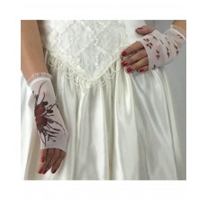 Mini glove- Two Roses/Foating Petals. Frill: wrist