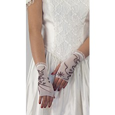 Mini Glove-Pink Flower/Swirls with printed crystals/ Frill: wrist