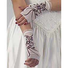 Mini Glove with Pink Flowers and Crystals; Frill: wrist