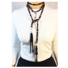 Layered Lariat printed tubular Choker; with Silver Beads and Charm; with 2 Fringe Tassels with Jet Beads.